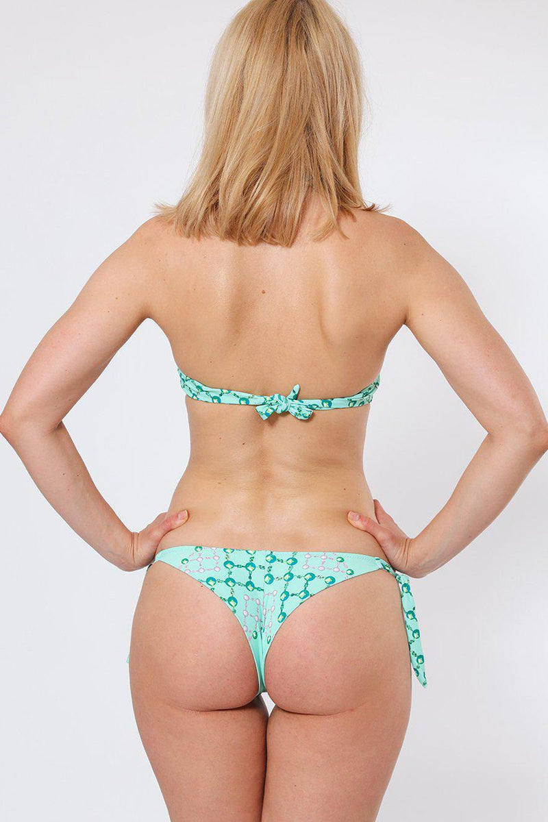 Crystals Embellished Light Green Bikini Set-SinglePrice