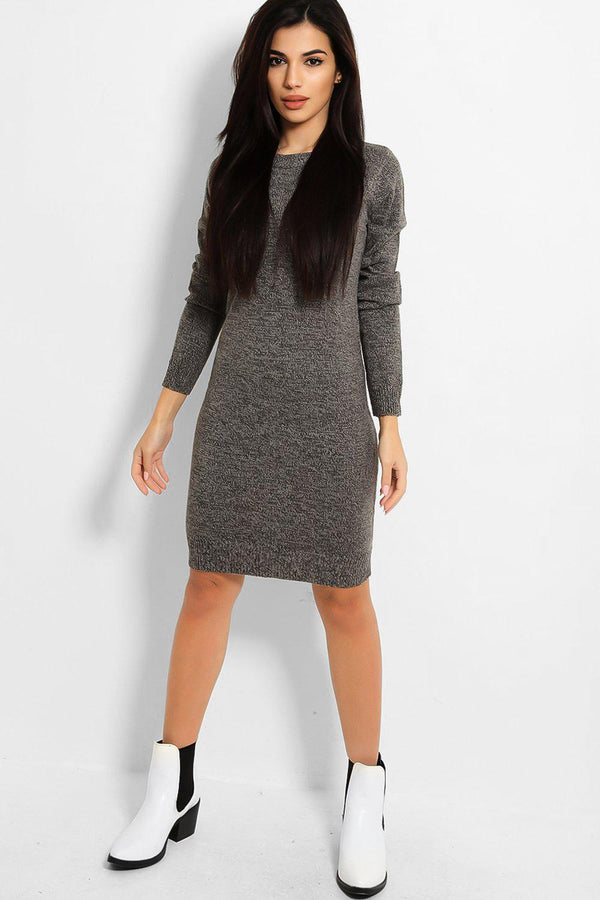 Mixed Grey Tones Flat Knit Jumper Dress-SinglePrice