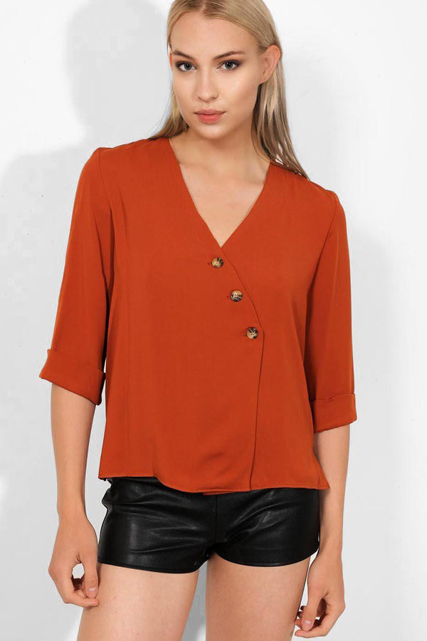 Brick Asymmetric Buttons Front Lightweight Top - SinglePrice