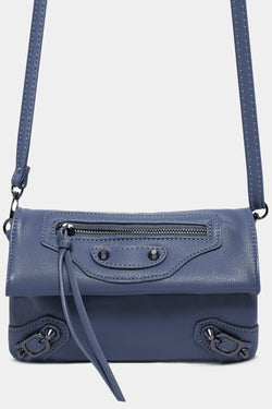 Light Blue Buckle And Zip Details Crossbody Wallet Bag - SinglePrice