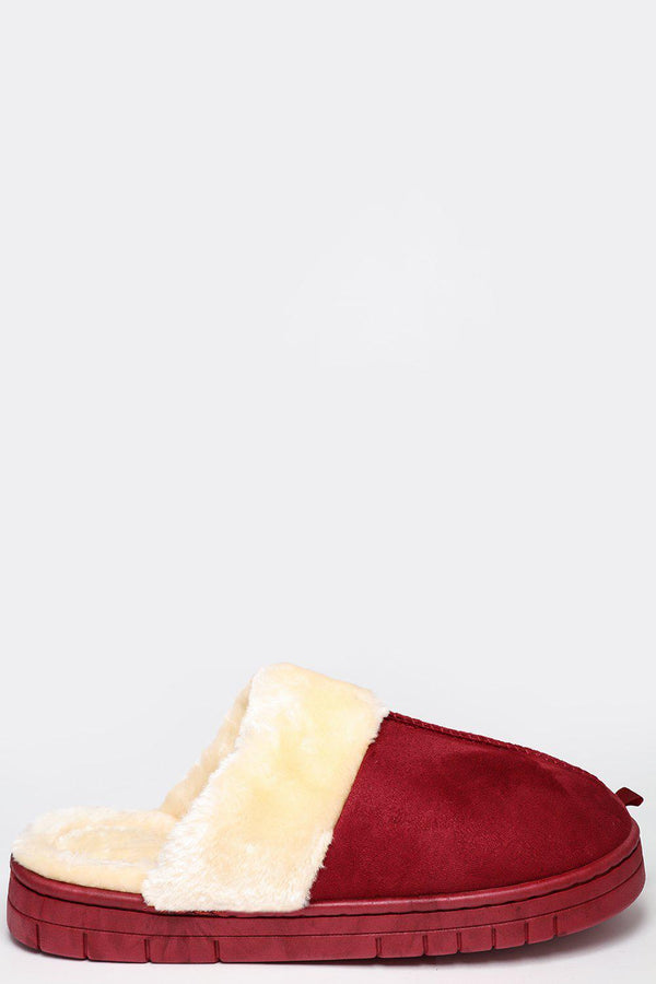 Faux Fur Wine Red Classic Slipper - SinglePrice