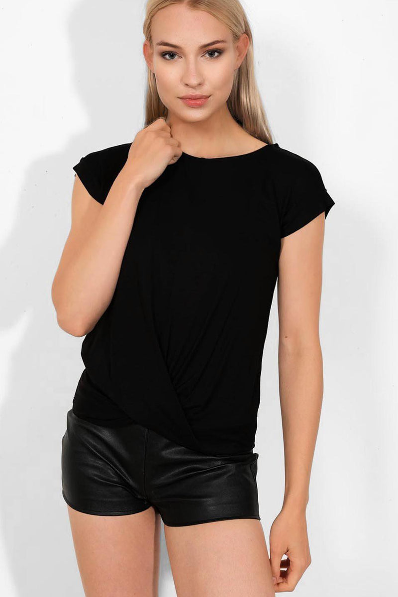 Black Twist Front Detail Casual Top - SinglePrice