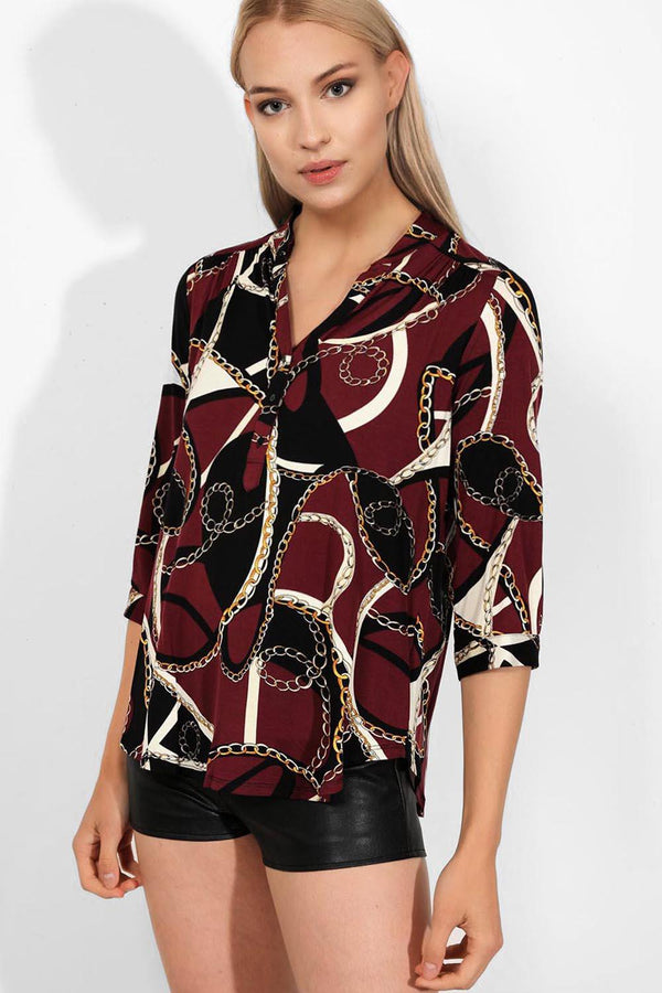 Burgundy Equestrian Print Relaxed Fit Top - SinglePrice