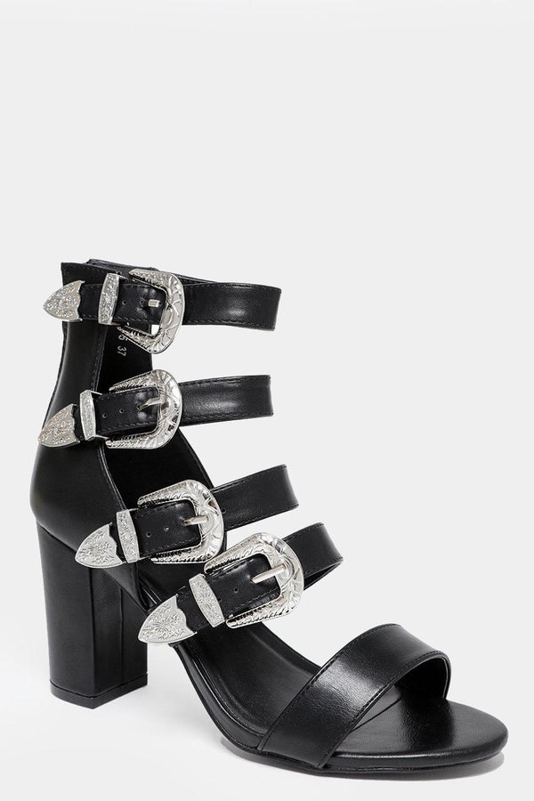 Buckled Multi Straps Black Faux Leather Heels-SinglePrice