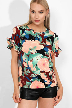 Floral Print Frilled Sleeves Top - SinglePrice