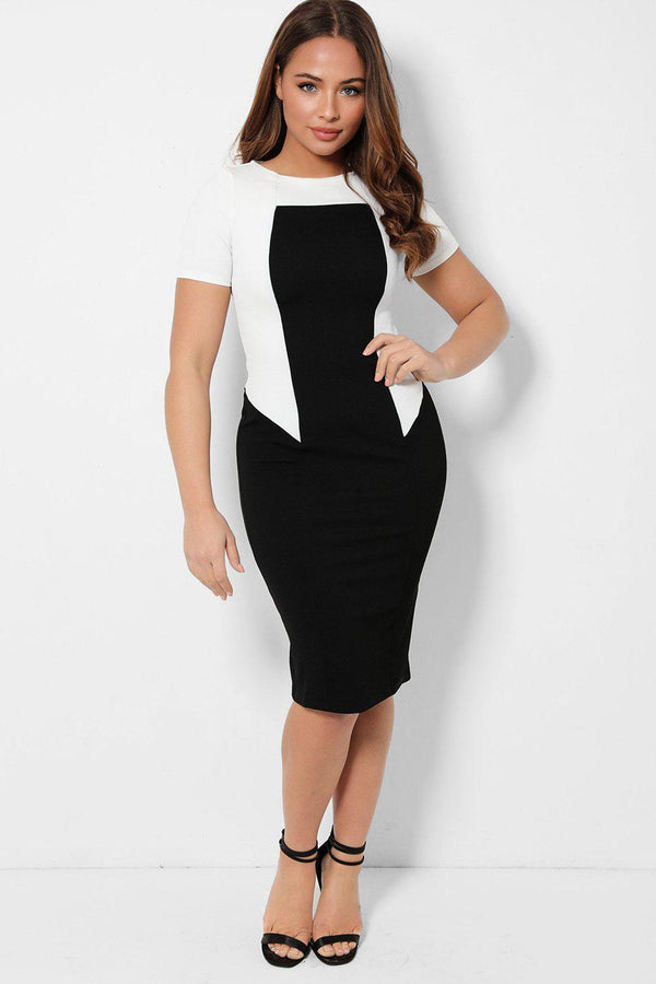 White Block Black Bodycon Midi Dress-SinglePrice