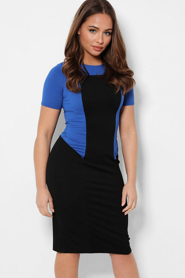 Blue Block Black Bodycon Midi Dress-SinglePrice