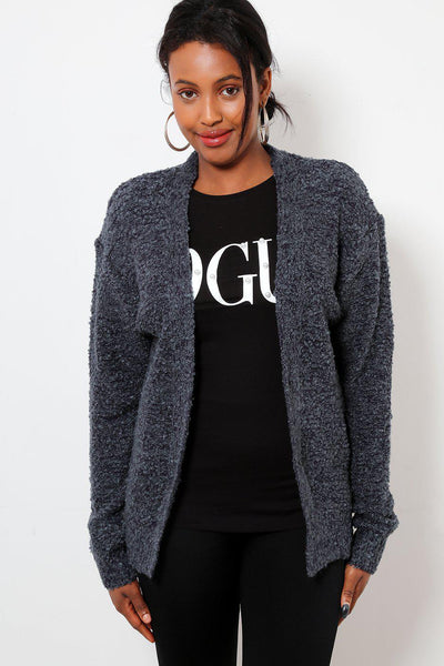 Boucle Knit Open Front Navy Cardie-SinglePrice