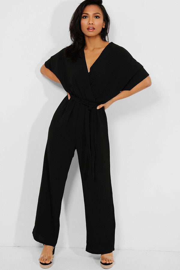 Black Self-Belt Wrap Front Wide Leg Jumpsuit - SinglePrice