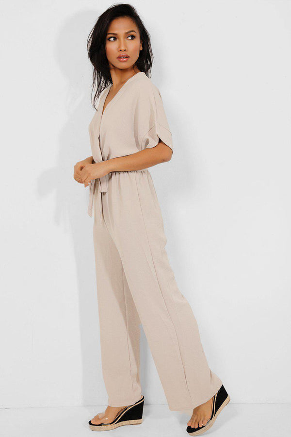 Beige Self-Belt Wrap Front Wide Leg Jumpsuit - SinglePrice