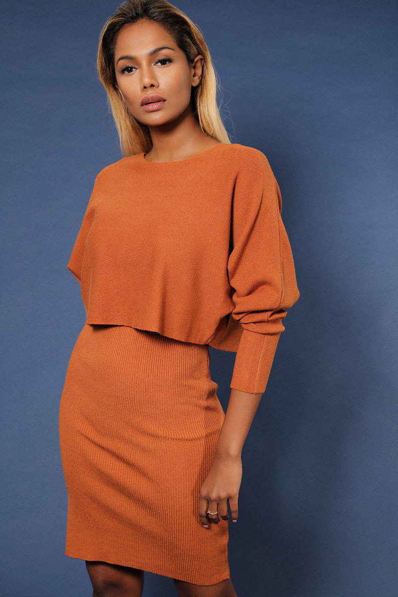 Camel Ribbed Knit V-Neck Dress And Oversized Top Set - SinglePrice