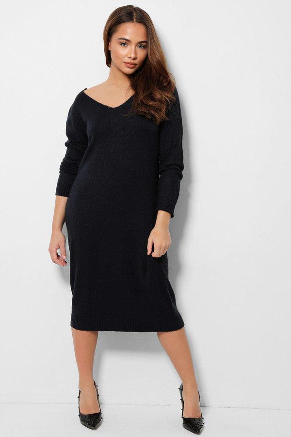 Navy Knitted Relaxed Fit V-Neck Dress-SinglePrice