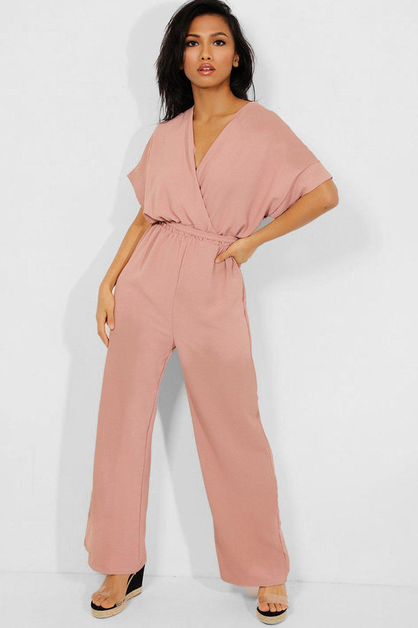 Pink Self-Belt Wrap Front Wide Leg Jumpsuit - SinglePrice