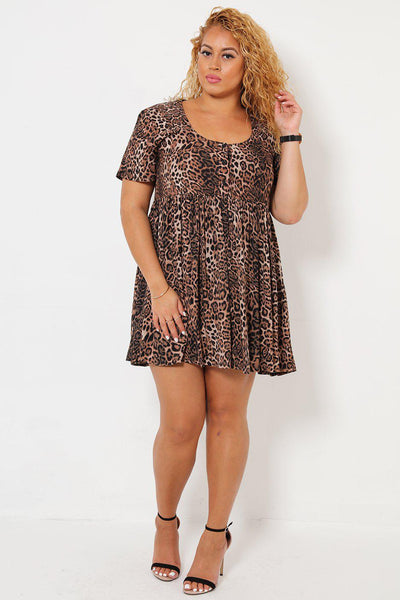 High Waisted Leopard Print Babydoll Dress-SinglePrice