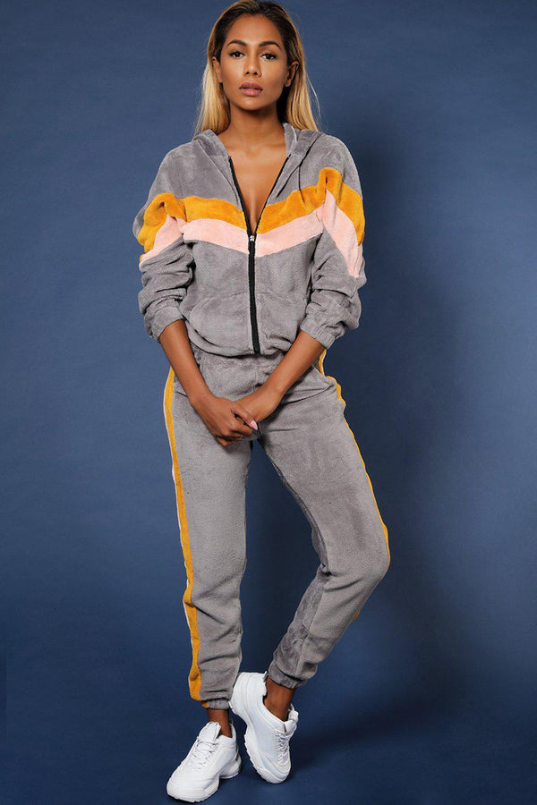 Grey Stripes Detail Fluffy Teddy Bear 2 Piece Tracksuit - SinglePrice