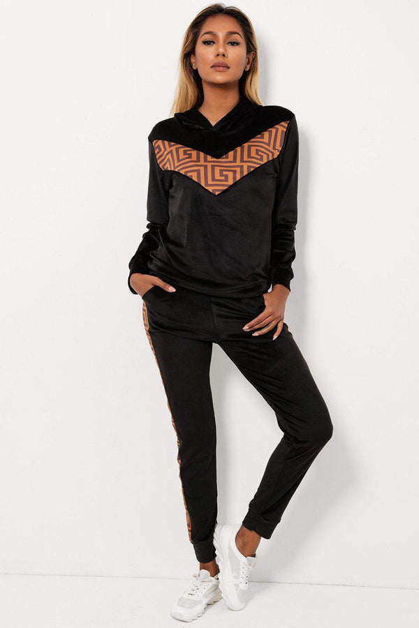 Black Logotype Insert Hooded Velvet Two Piece Tracksuit-SinglePrice