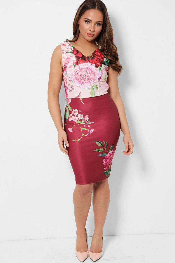 Pink Mixed Flowers Print V-Neck Midi Bodycon Dress-SinglePrice