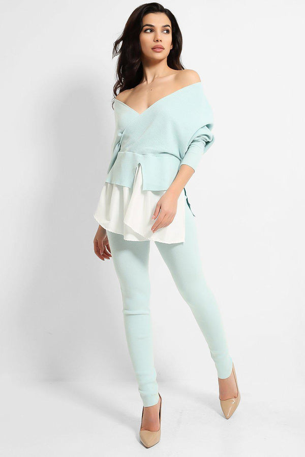 Aqua Shirt Insert Batwing Pullover And Leggings Knitted Set - SinglePrice