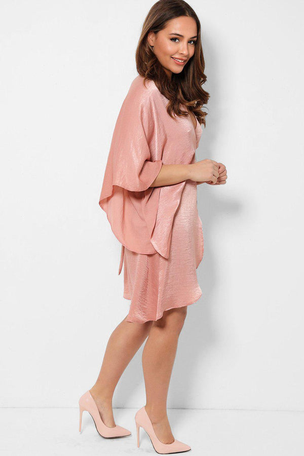 Pink Satin Batwing Sleeves Wrap Dress-SinglePrice