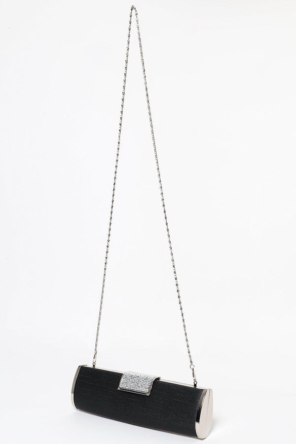 Encrusted Closure Black Evening Bag-SinglePrice