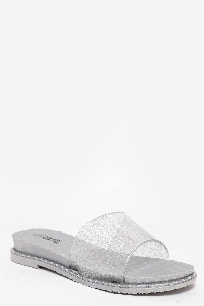 Transparent Glitter Grey Sliders - SinglePrice