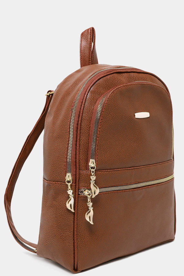 Brown Textured Vegan Leather Multi-Pocket Backpack-SinglePrice