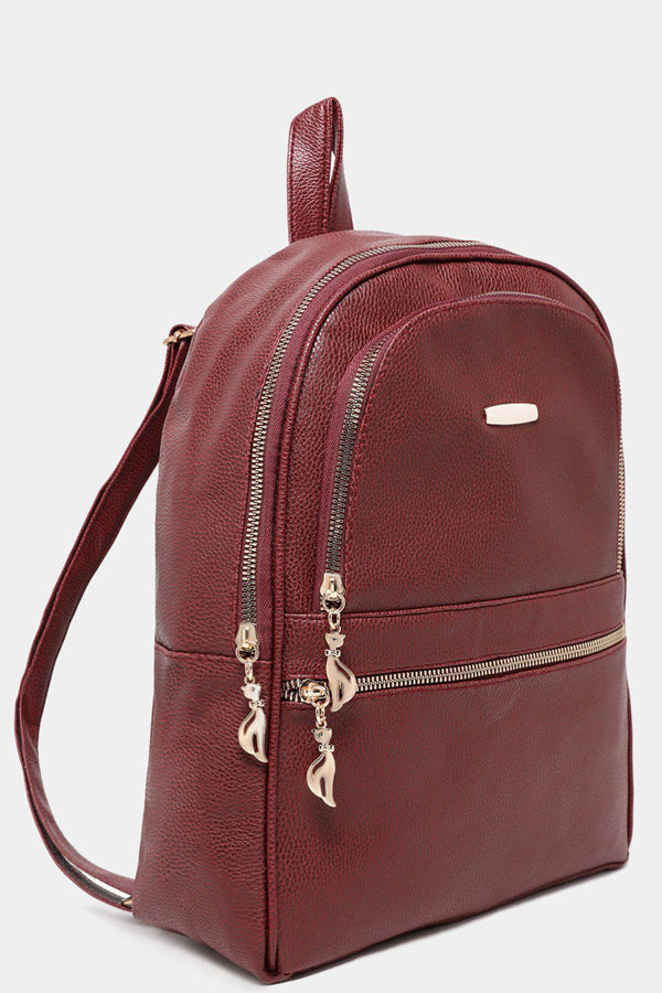 Burgundy Textured Vegan Leather Multi-Pocket Backpack-SinglePrice