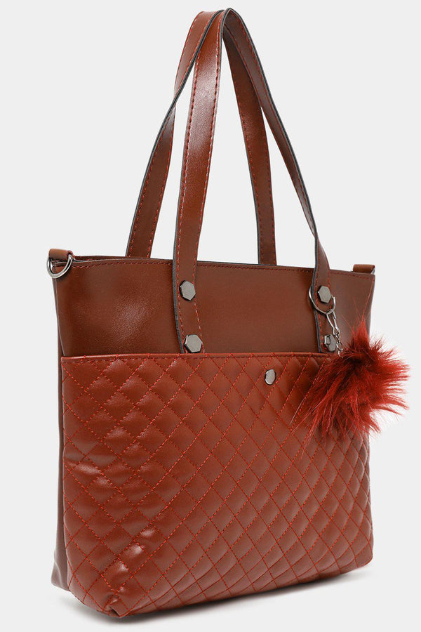 Brown Quilted Vegan Leather Small Tote-SinglePrice