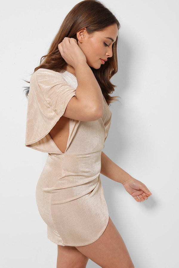 Beige Open Sides Batwing Sleeves Slinky Wrap Mini Dress-SinglePrice