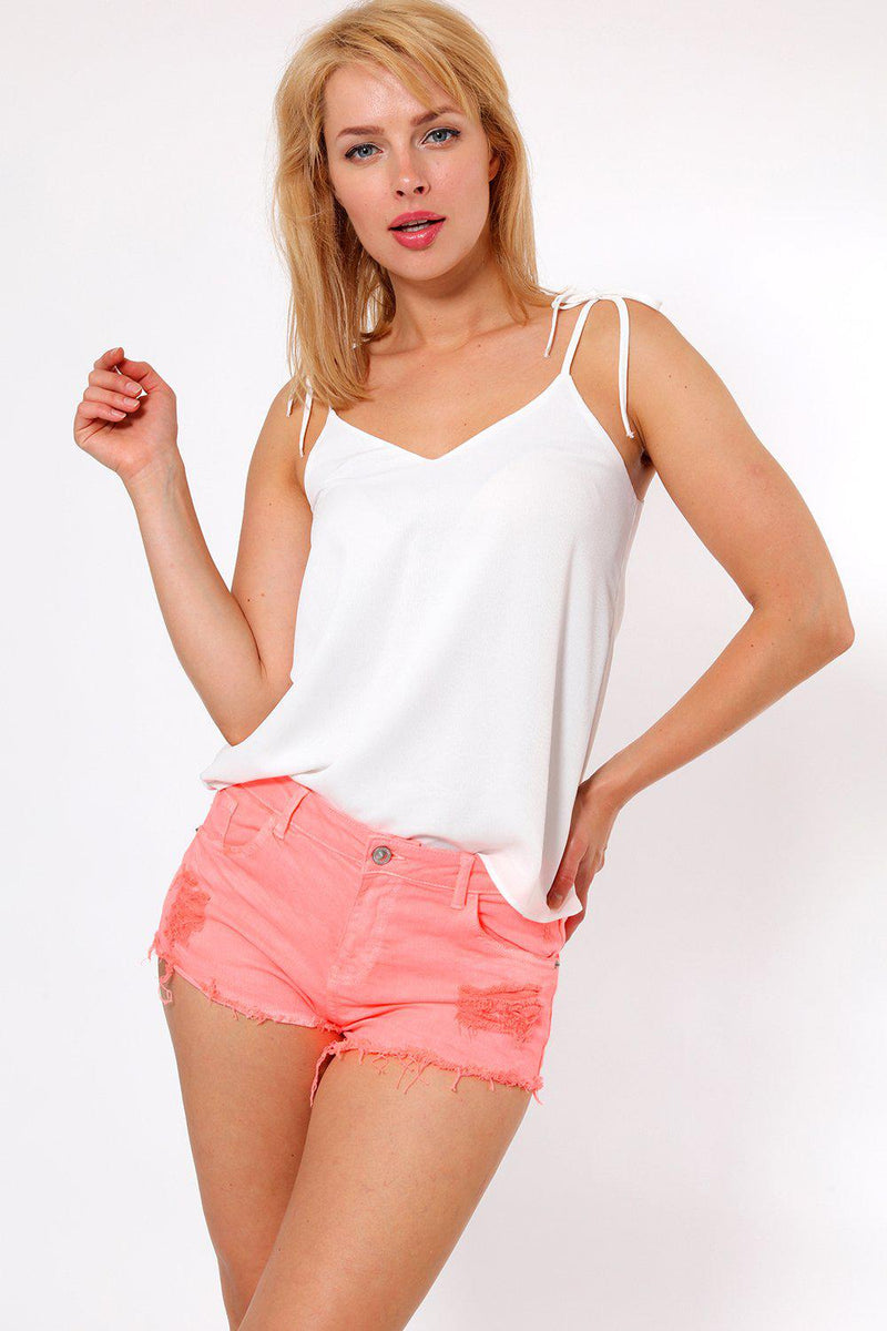 Distressed Ripped Neon Pink Denim Shorts - SinglePrice