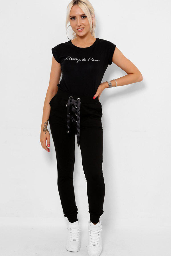 Black Corset Lace Track Bottoms - SinglePrice