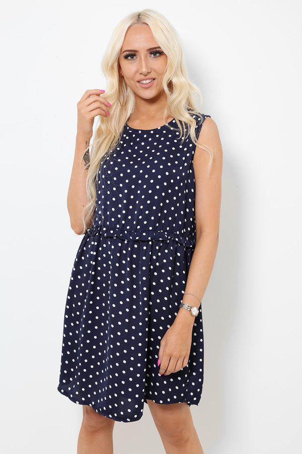 70s Navy Polka Dot Skater Dress - SinglePrice