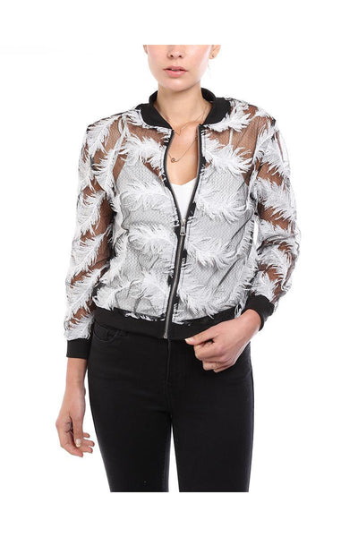 Black Feather Embellished Sheer Bomber Jacket-SinglePrice