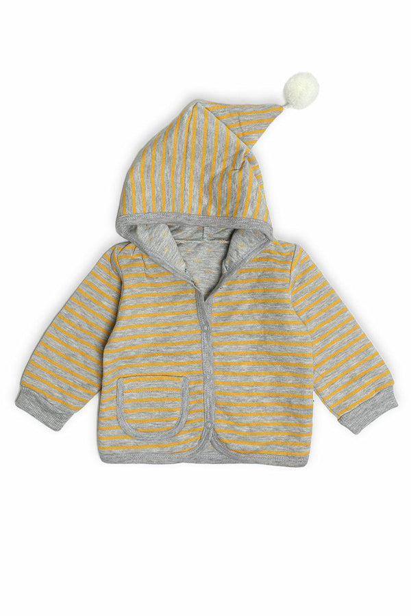 Yellow Grey Stripe Pom Pom Hood Baby Boy Sweatshirt-SinglePrice