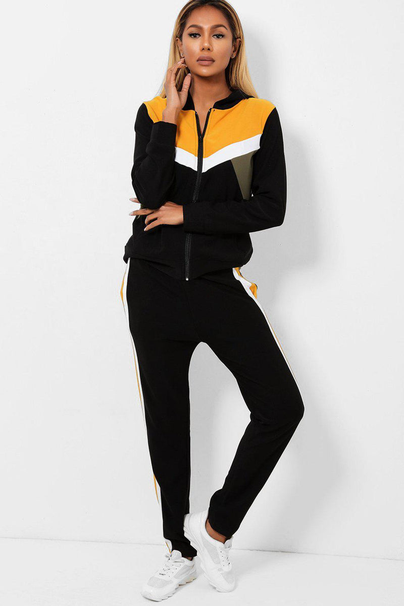 Mustard Khaki Colour Blocks Black 2 Piece Tracksuit - SinglePrice
