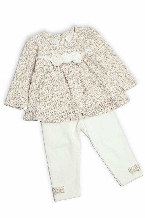 Cream Flowers Embellished Baby Girl Set-SinglePrice