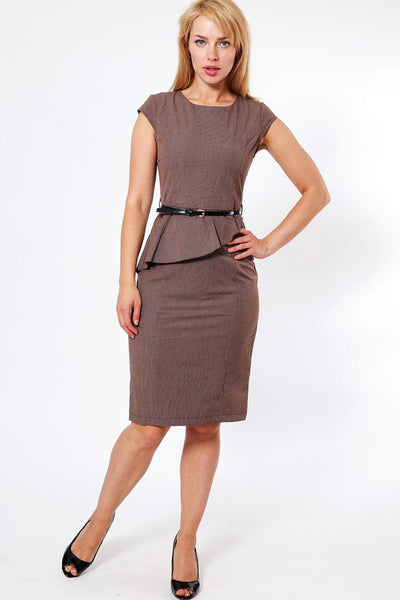 Asymmetric Peplum Belted Midi Dress-SinglePrice