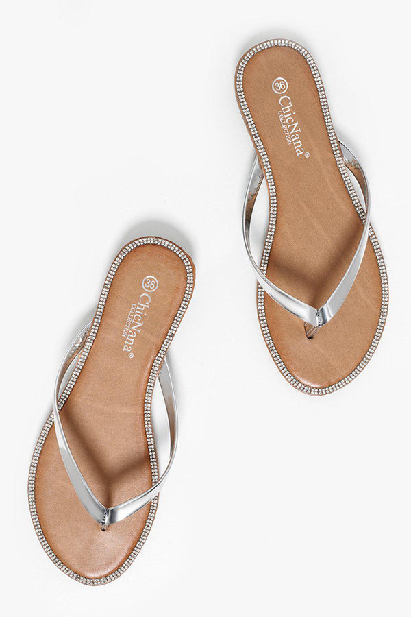 Encrusted Sole Silver Thong Sandals-SinglePrice