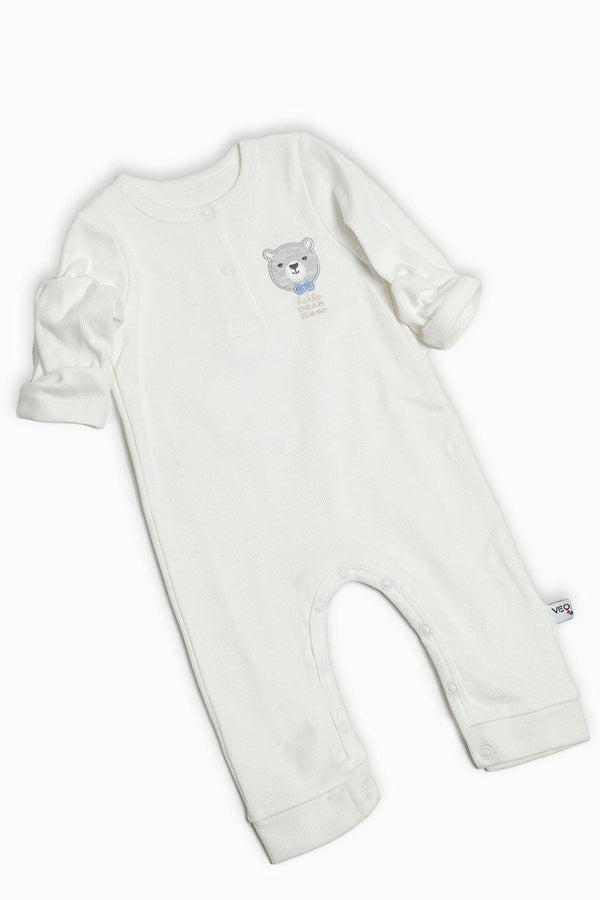 Cream Ribbed Fabric Baby Romper-SinglePrice