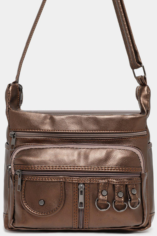 Bronze Retro Style Multi-Pocket Vegan Leather Messenger Bag-SinglePrice