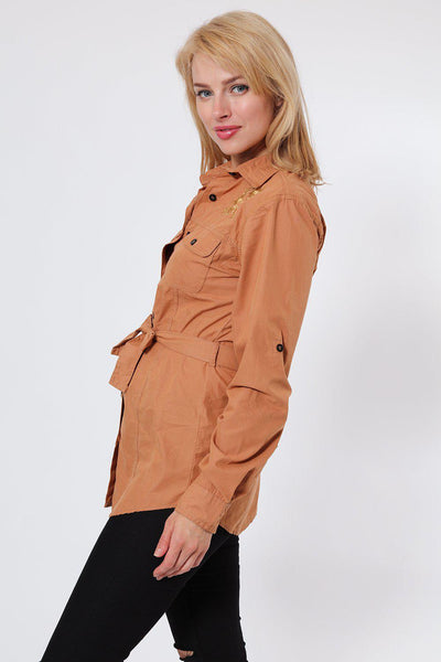 Embroidered Waist Tie Brown Shirt-SinglePrice