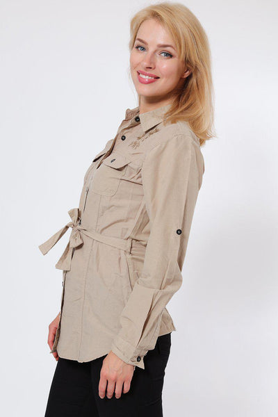 Embroidered Waist Tie Khaki Shirt-SinglePrice