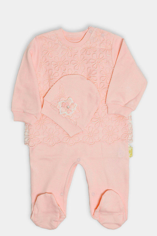 Salmon Floral Net Baby Girl Romper And Hat Set
