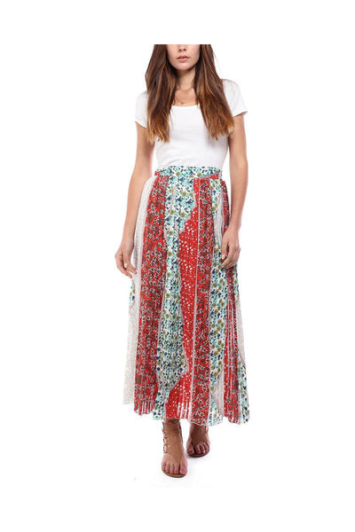 Red Green Pleated Maxi Skirt-SinglePrice