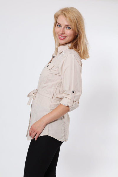 Embroidered Waist Tie Beige Shirt-SinglePrice