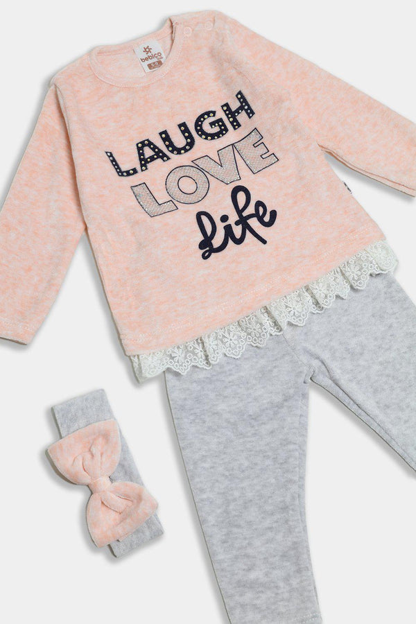 Salmon Encrusted Velvet Baby Girl 3 Piece Set