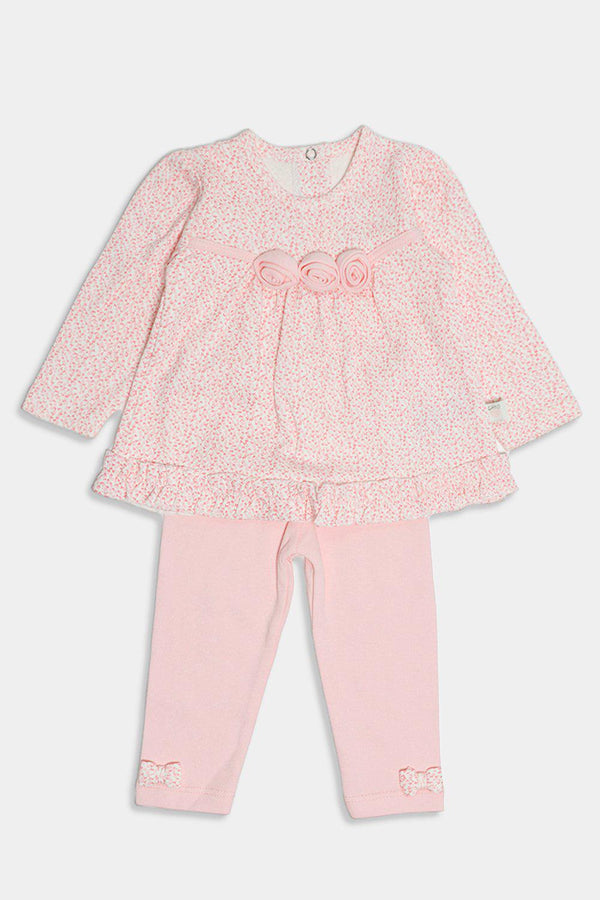 Salmon Flowers Embellished Baby Girl Set