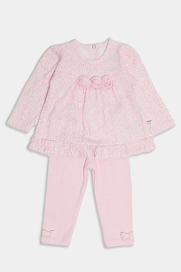 Pink Flowers Embellished Baby Girl Set