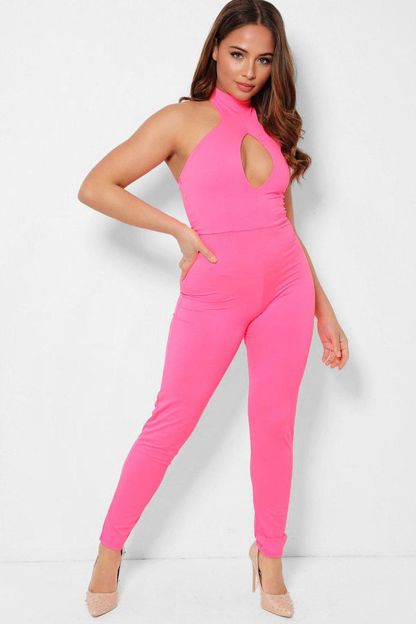 Highlighter Pink Peek-a-Boo Halter Neck Catsuit-SinglePrice