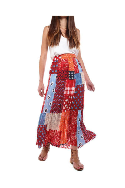 Red Patchwork Print Pleated Maxi Skirt-SinglePrice